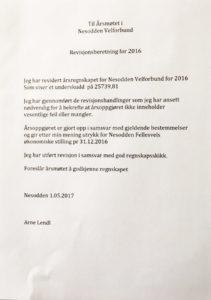 revisjonsberetning Nesodden Velforbund.